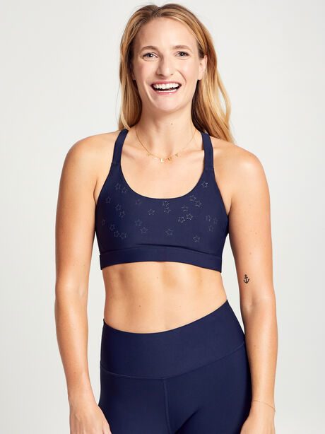 Stars In The Sky Contrast Strap Sports Bra, Navy, large image number 1