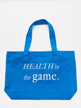 Health Is The Game Tote Bag Blue, Blue, large