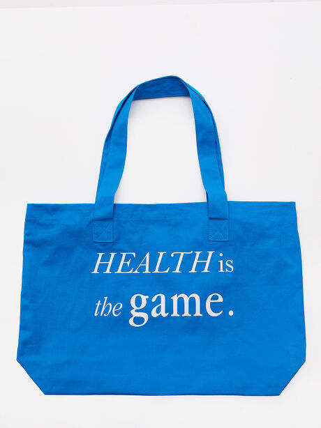 Health Is The Game Tote Bag Blue, Blue, large image number 0