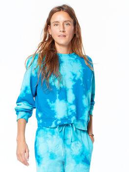Milan Cropped Sweatshirt Aqua Marine Blast, Aquamarine, large
