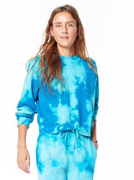 Milan Cropped Sweatshirt Aqua Marine Blast, Aquamarine, large image number 1