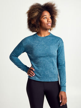 SEAMLESS CROP L/S, Deep Sea, large