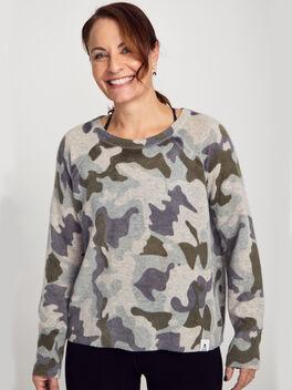 Cashmere Camo Crewneck Sweater, Camo, large