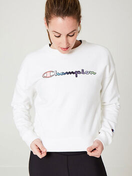 Rainbow Crewneck Sweatshirt, White, large
