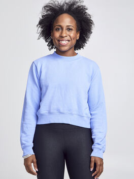 Milan Solid Cropped Sweatshirt, Purple, large