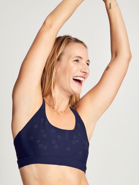 Stars In The Sky Contrast Strap Sports Bra, Navy, large image number 0