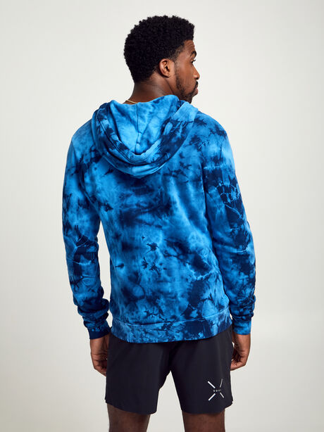 Tie-Dye Zip Hoodie Sweatshirt, Blue Tied, large image number 3