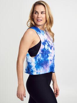 Supernova Blue Tie-Dye Seamless Tank Top, Blue Tied, large