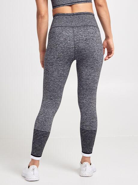 Striped Seamless Legging, Black/Grey/White, large image number 3