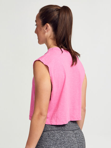 Tokyo Cropped Pink Tank Top, Hot Pink, large image number 2
