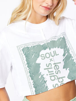 Exclusive Deconstructed Cropped T-Shirt White, White, large
