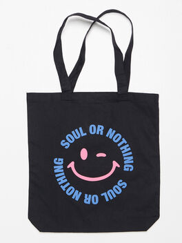 Smiley Face Canvas Tote Black, Black, large