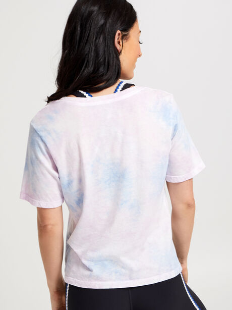 Crop Short-Sleeve T-shirt, Tie Dye, large image number 2