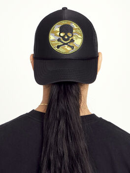 Camo Skull Trucker Hat, Black, large