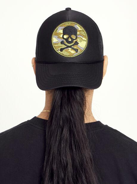 Camo Skull Trucker Hat, Black, large image number 0