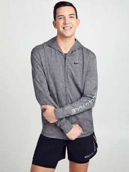 Dry Hoodie Full-Zip Hyperdry Lite Sweatshirt, Black/Htr/Black, large