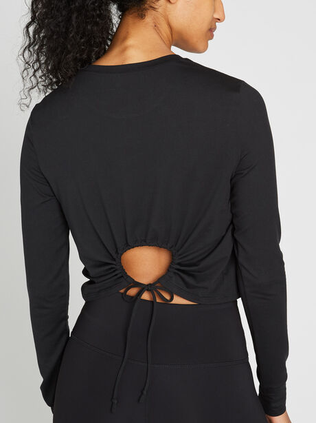 Keyhole Back Crop Long Sleeve, Black, large image number 0