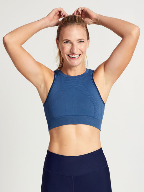 Steely Skies One by One Cropped Sports Bra, Blue, large image number 0