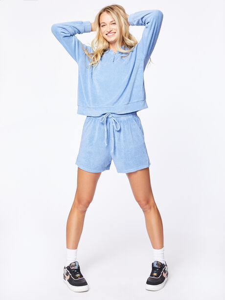 Terry Henley Sweatshirt Denim, Blue Denim, large image number 3