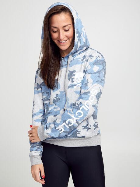 Blue Camo Cropped Hoodie, Blue, large image number 0