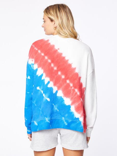 July 4th Tie-Dye Lounge Sweatshirt White, Red/Blue, large image number 1