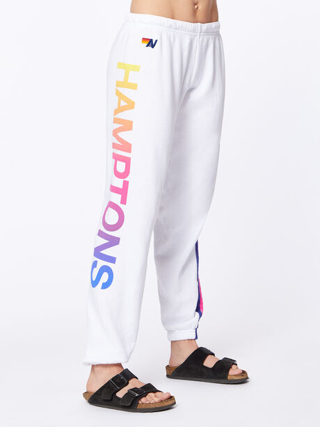 Exclusive 5 Stripe Sweatpant White/Rainbow Hamptons, White, large image number 3