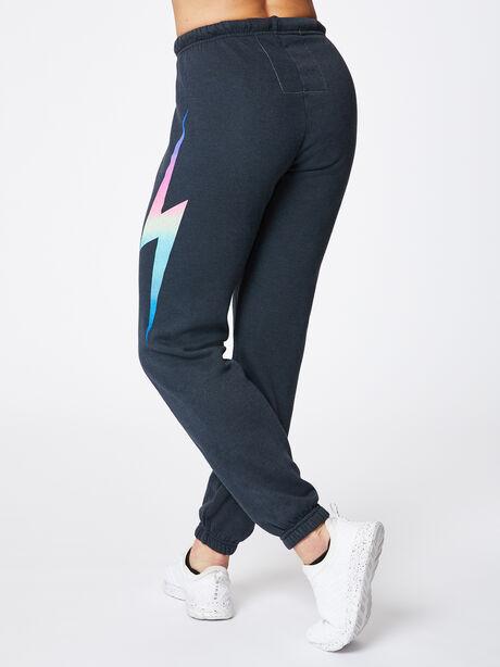 Bolt Sweatpant Charcoal, Black/Pink, large image number 3