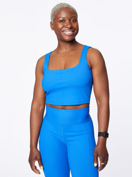 Ribbed Active Cami Blue, Blue, large