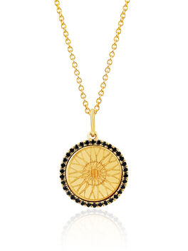 Black Diamond Wheel Necklace, Gold, large