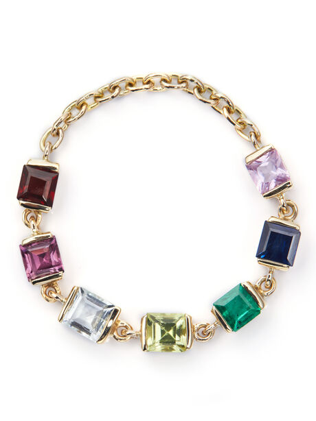 Rainbow Stones Chain 14k Gold Ring, Multi, large image number 0