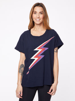 Lightning Bolt T-shirt, Navy, large