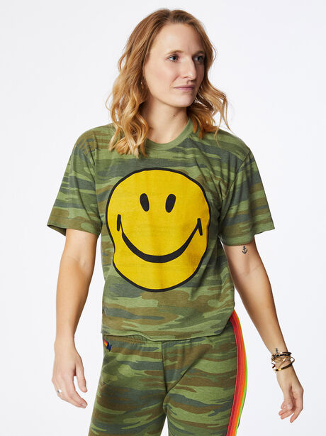 Smiley Boyfriend Tee Camo, Green/Camo, large image number 2