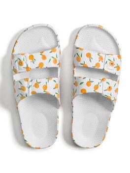Moses Two Band Slides Peachy White, White/Neon Orange, large