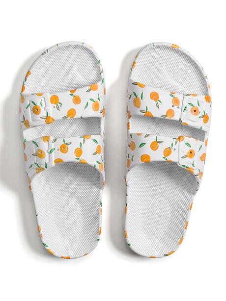 Moses Two Band Slides Peachy White, White/Neon Orange, large image number 0