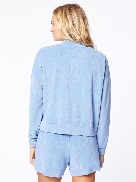 Terry Henley Sweatshirt Denim, Blue Denim, large image number 2