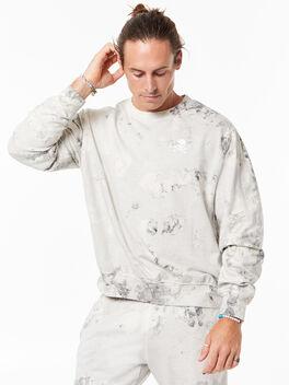 Tie-Dye Derek Crew Neck Sweatshirt Black/White, Black/White, large