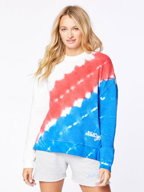 July 4th Tie-Dye Lounge Sweatshirt White, Red/Blue, large image number 0