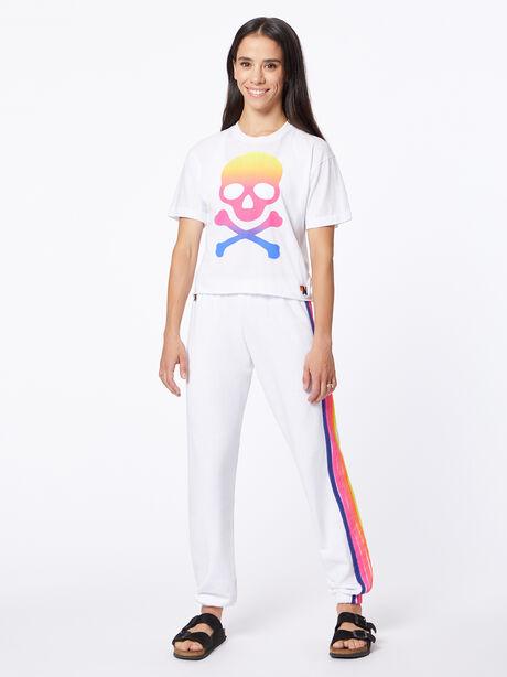 Exclusive 5 Stripe Sweatpant White/Rainbow, White, large image number 0