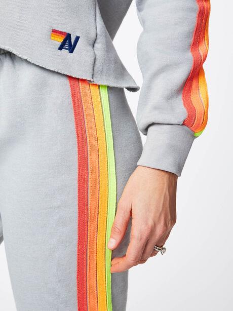 Split Neck 4 Stripe Hoodie Light Grey, Light Grey, large image number 3
