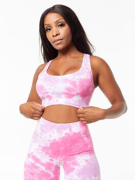 Tie-Dye Summer In The City Bra Tank Pink/Purple, Purple, large