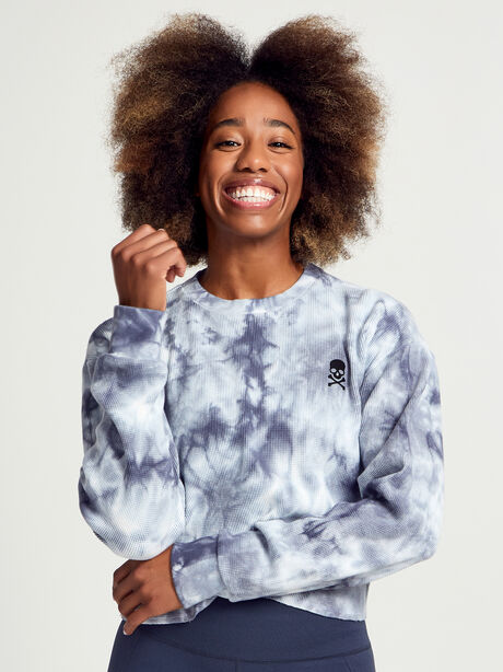 Julia Cropped Waffle Sweatshirt, Grey/White, large image number 0