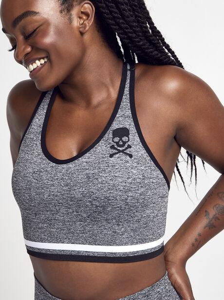 Melange Seamless Sports Bra, Grey, large image number 0