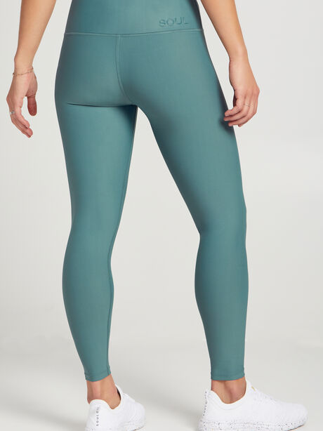 Fold-Over Waistband Leggings, Green, large image number 2
