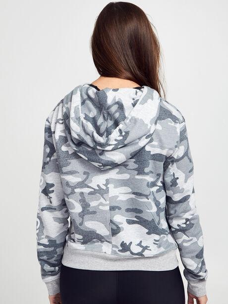 Grey Camo Cropped Hoodie, Grey, large image number 2