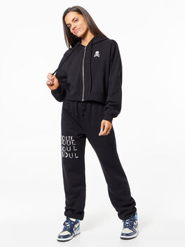 Cropped Zip Up Hoodie Black, Black, large