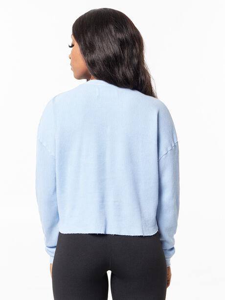 Julia Cropped Waffle Shirt Light Blue, , large image number 3