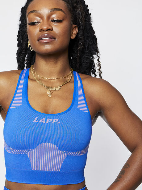 Seamless Contour Sports Bra, Blue, large image number 1