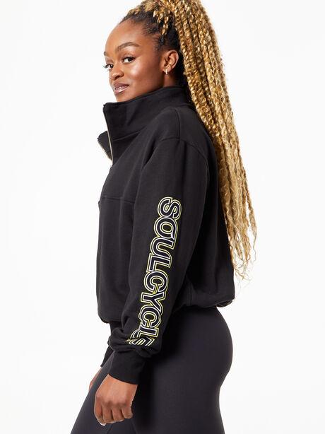 Katie Quarter Zip Sweatshirt Black, Black, large image number 2