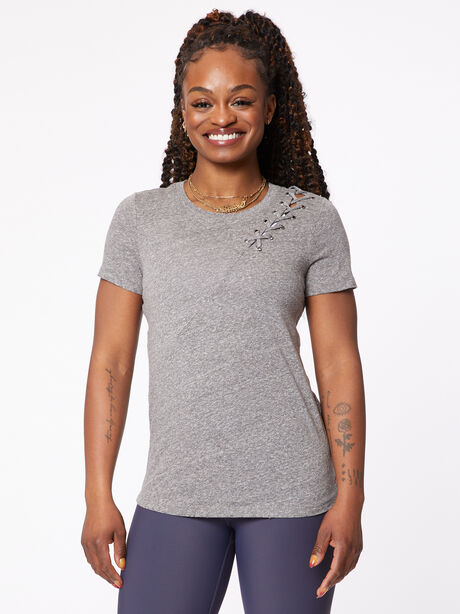 Gaia Lace Tee, Heather Grey, large image number 0
