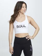 Free To Be Serene Long Line Bra With Soul Stars, White, large